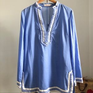 Tory Burch Blue & White Tunic Dress